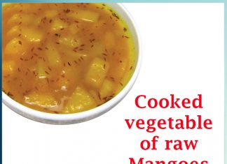 Cooked vegetable of raw mangoes