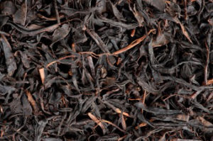 dry black tea leaves closeup